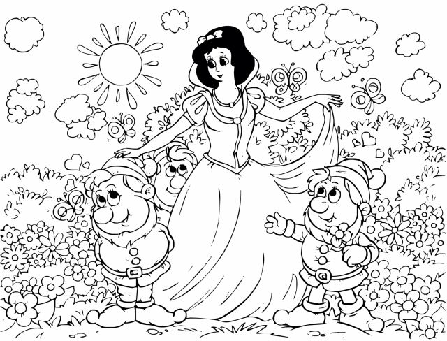 coloriage blanche neige sept nains