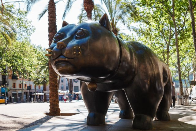 botero chat sculpture barcelone