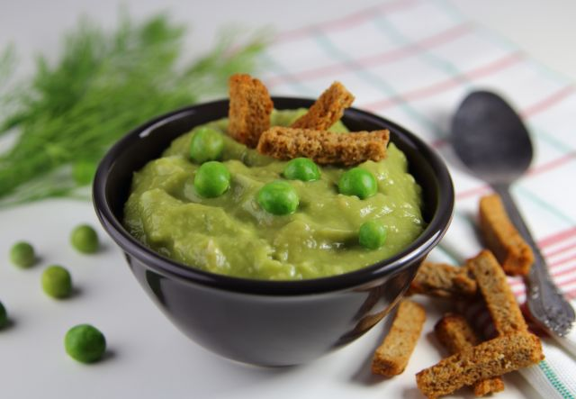 puree petits pois croutons